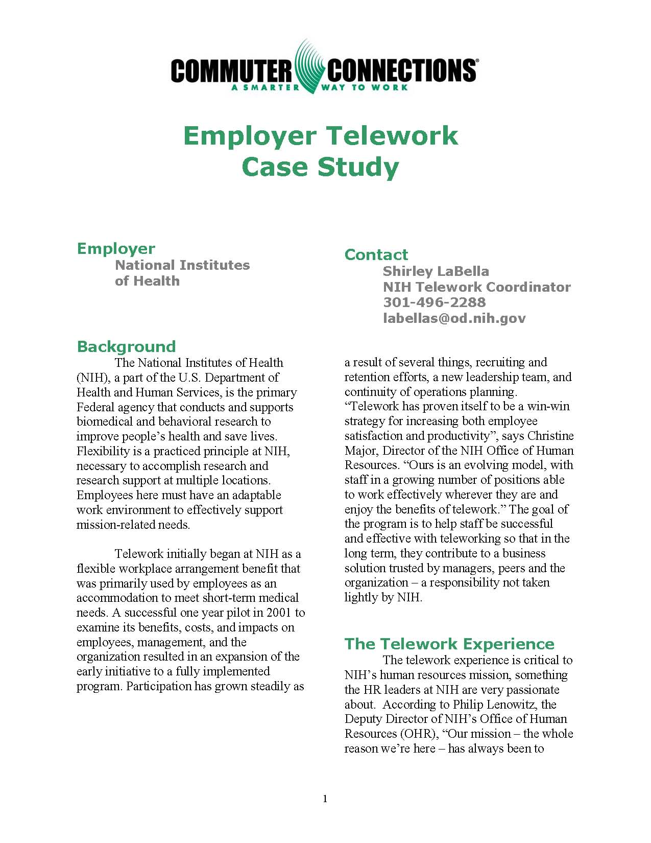 telecommuting at medex case study Telework case studies and research these resources are a valuable source of  information about how local and national companies have implemented.
